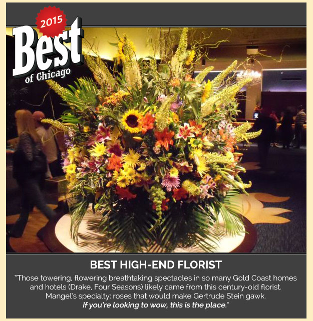 Send Fresh Flowers from Mangel Florist at The Drake Hotel, a top award winning florist delivering flowers throughout the Chicago area. Voted Best of Chicago!