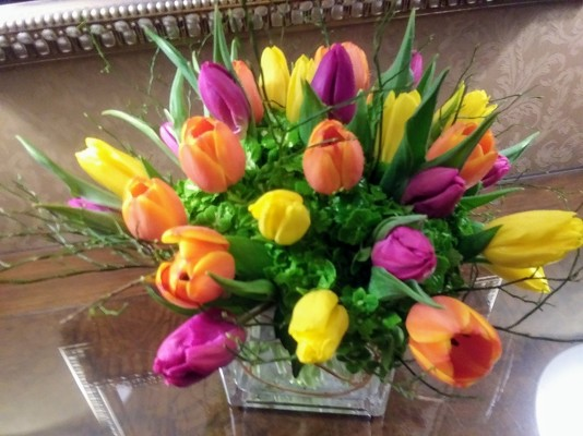 Mixed Arrangement of Colorful Tulips from Mangel Florist, flower shop at the Drake Hotel Chicago