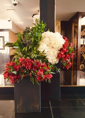 Red, White, and Blue Tall Arrangements from Mangel Florist, flower shop at the Drake Hotel Chicago