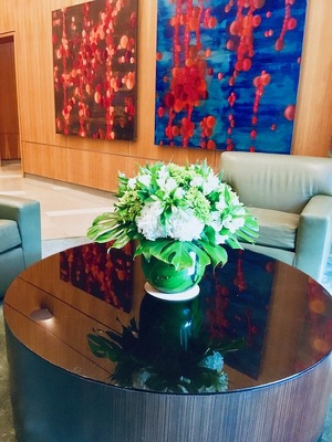 Low Round Arrangement  from Mangel Florist, flower shop at the Drake Hotel Chicago