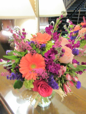 Pink Purple and Peach Arrangement  from Mangel Florist, flower shop at the Drake Hotel Chicago