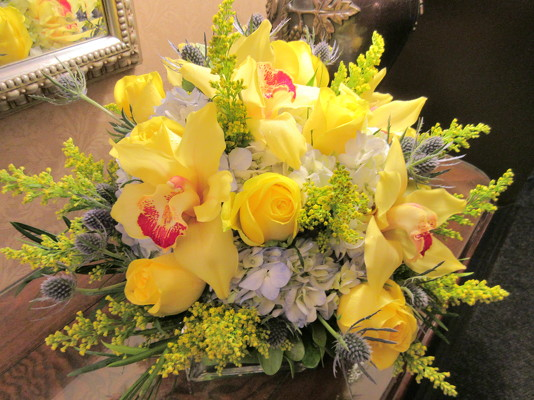 Yellow Orchids and Roses  from Mangel Florist, flower shop at the Drake Hotel Chicago