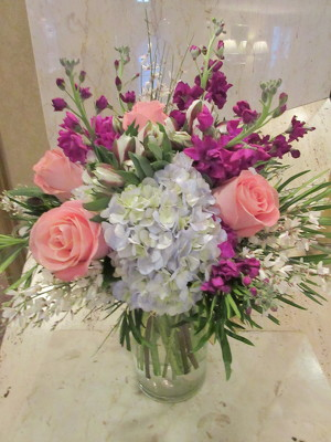 Soft Palete of Pink, Blue, Purple Florals from Mangel Florist, flower shop at the Drake Hotel Chicago