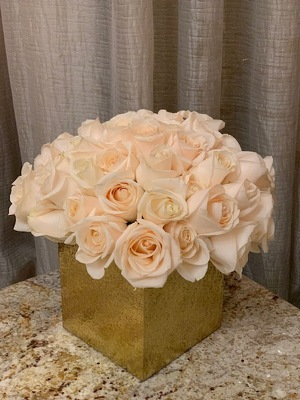 White Roses in Gold Cube from Mangel Florist, flower shop at the Drake Hotel Chicago