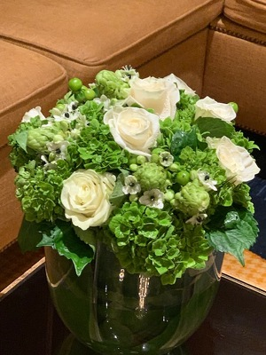 Lush Green and White Arrangement  from Mangel Florist, flower shop at the Drake Hotel Chicago