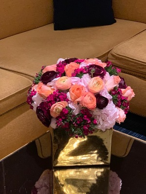 Rose and Ranunculus in Gold Cube from Mangel Florist, flower shop at the Drake Hotel Chicago