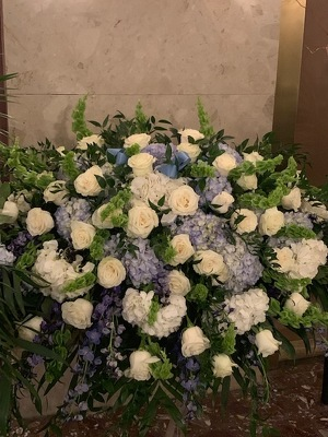 Blue and White Casket Spray from Mangel Florist, flower shop at the Drake Hotel Chicago