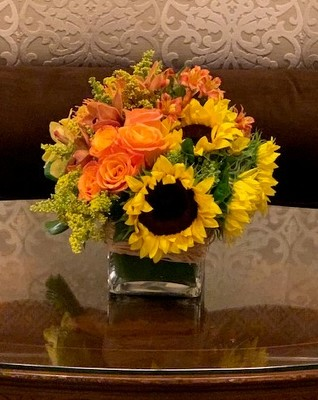 Low Sunflower Cube from Mangel Florist, flower shop at the Drake Hotel Chicago