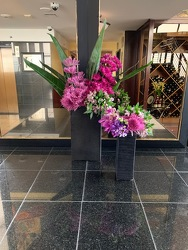 Tall Purple Arrangements from Mangel Florist, flower shop at the Drake Hotel Chicago