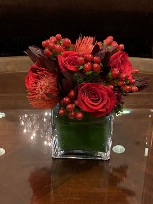 Low Red Arrangement from Mangel Florist, flower shop at the Drake Hotel Chicago