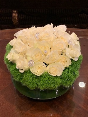 Low Round Rose Arrangement  from Mangel Florist, flower shop at the Drake Hotel Chicago