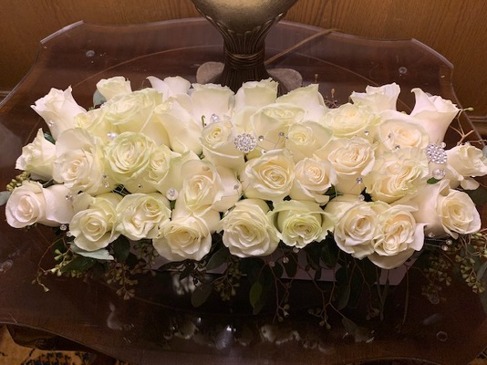Grand White Rose Arrangement from Mangel Florist, flower shop at the Drake Hotel Chicago