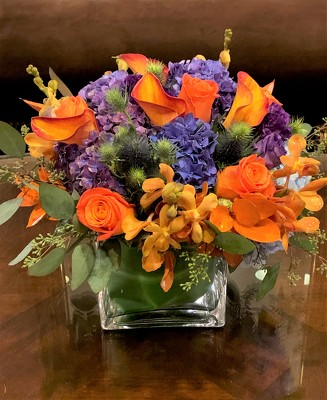 Orange and Purple Cube  from Mangel Florist, flower shop at the Drake Hotel Chicago