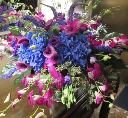 Blue and Purple Arrangement  from Mangel Florist, flower shop at the Drake Hotel Chicago