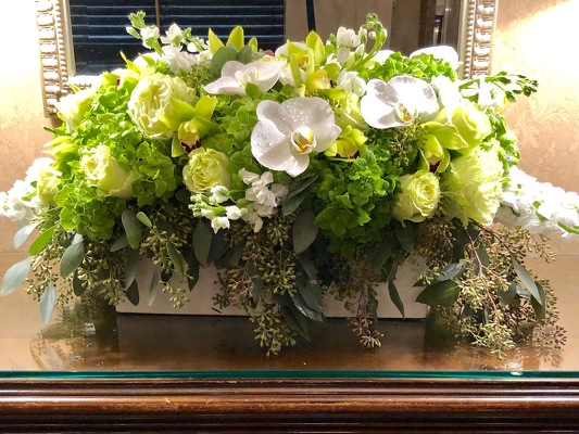 Low Elegant Arrangement  from Mangel Florist, flower shop at the Drake Hotel Chicago