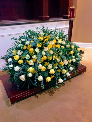 Yellow and White Casket Spray from Mangel Florist, flower shop at the Drake Hotel Chicago