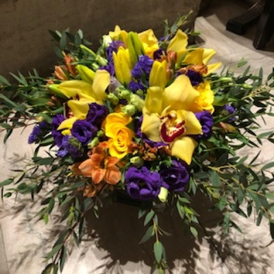 Compact Purple and Yellow Arrangement  from Mangel Florist, flower shop at the Drake Hotel Chicago