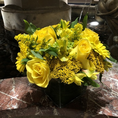 Yellow Arrangement  from Mangel Florist, flower shop at the Drake Hotel Chicago