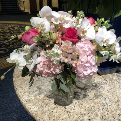 Soft Pink and White Arrangement with Orchids  from Mangel Florist, flower shop at the Drake Hotel Chicago