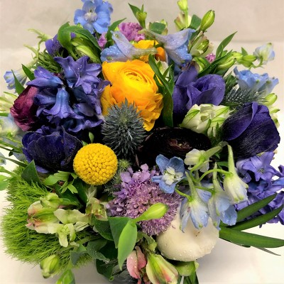 Purple and Yellow Spring Arrangement  from Mangel Florist, flower shop at the Drake Hotel Chicago