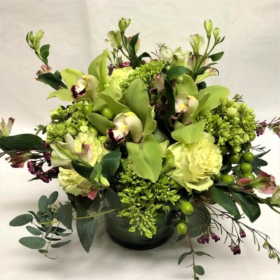 Green Rose and Orchid Arrangement  from Mangel Florist, flower shop at the Drake Hotel Chicago