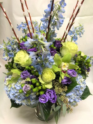 Blue and Purple Spring Arrangement from Mangel Florist, flower shop at the Drake Hotel Chicago