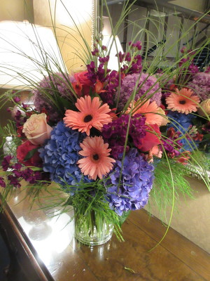 Purple and Peach Arrangement  from Mangel Florist, flower shop at the Drake Hotel Chicago