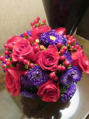 Pink and Purple Compact Arrangement  from Mangel Florist, flower shop at the Drake Hotel Chicago