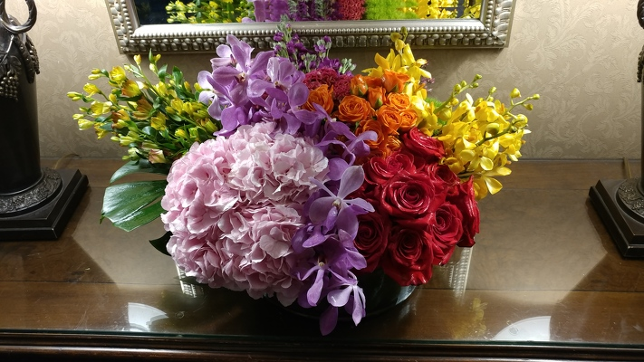 Large Colorful Low Arrangement  from Mangel Florist, flower shop at the Drake Hotel Chicago