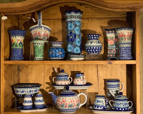 Polish Pottery from Mangel Florist, flower shop at the Drake Hotel Chicago