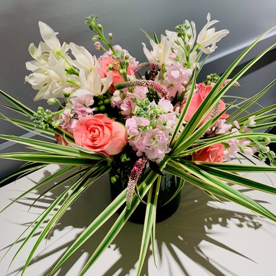 Pink, White, and Decorative Grass Arrangement  from Mangel Florist, flower shop at the Drake Hotel Chicago