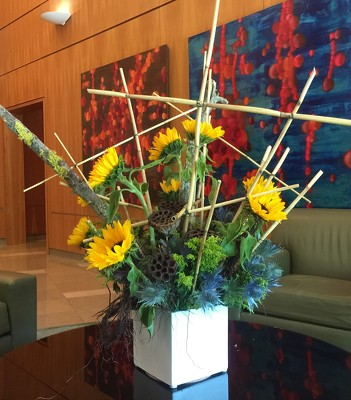 Sunflower with River Cane from Mangel Florist, flower shop at the Drake Hotel Chicago