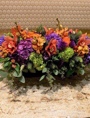 Low Purple and Orange Floral